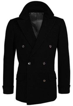 Black Cashmere Crossed Coat