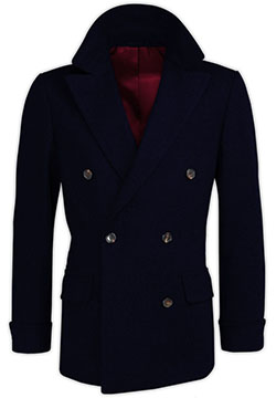 Navy Cashmere Crossed Coat