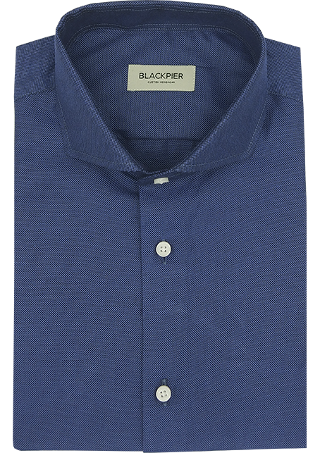 Dark Blue Shirt French Oxford - Front view