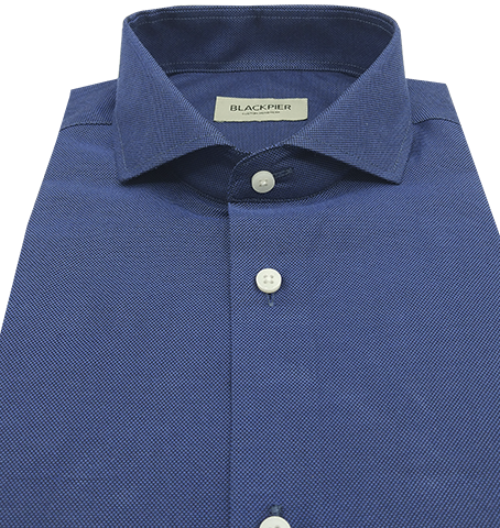 Dark Blue Shirt French Oxford - Isometric view