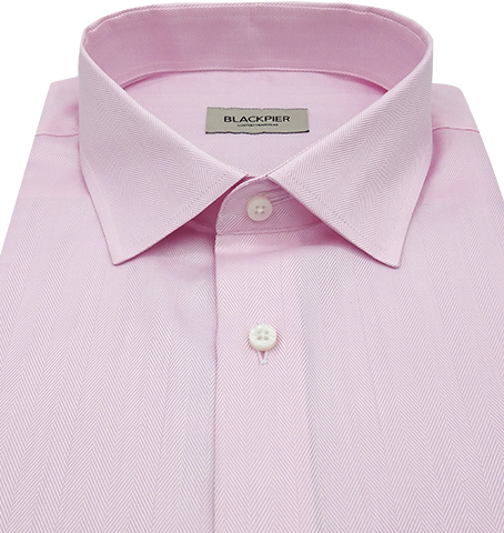 Light Pink Herringbone Shirt - Isometric view