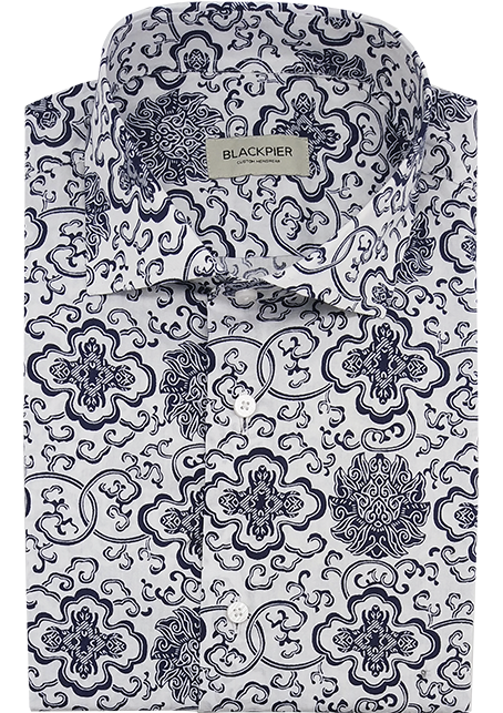 Blue print shirt - Front view