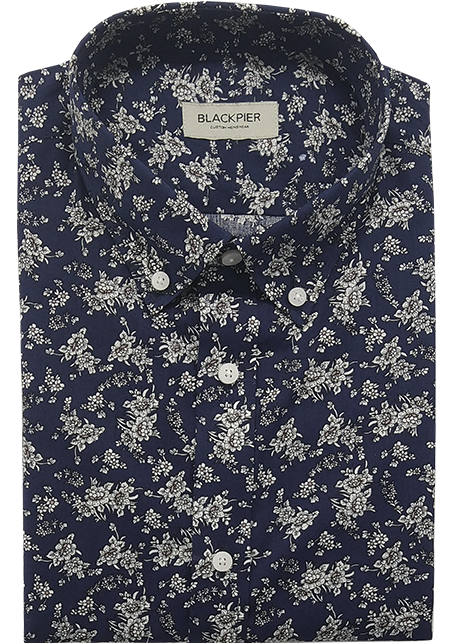 Navy Floral Shirt - Front view