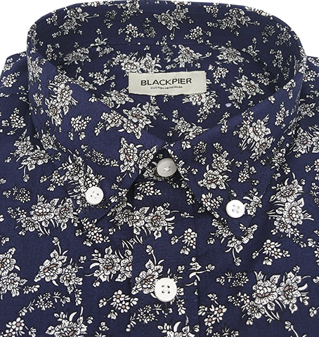 Navy Floral Shirt - Isometric view