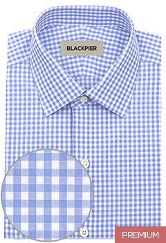 Light blue plaid shirt premium