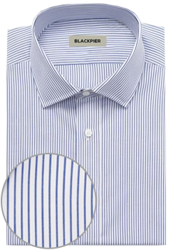 Dark blue striped shirt curious