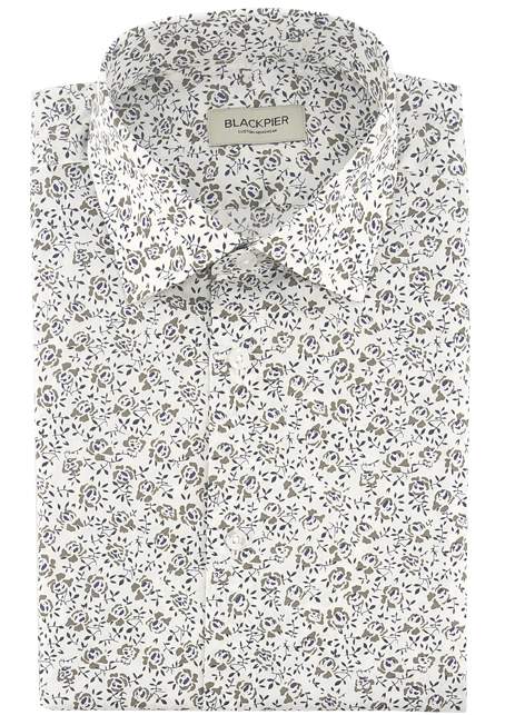 White and Brown Floral Shirt - Front view