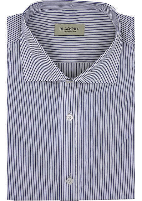 White striped shirt blue - Front view