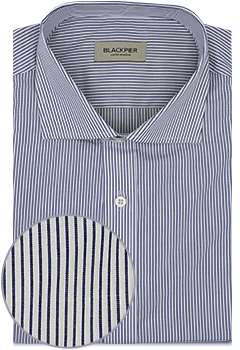 White striped shirt blue