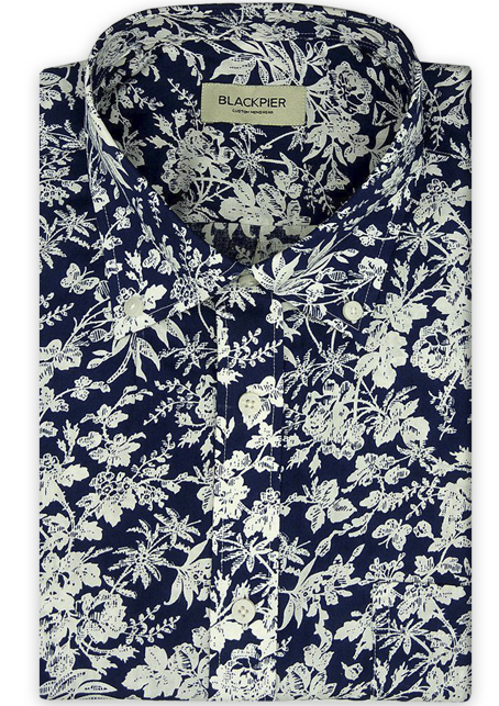 Pattern Blue Shirt - Front view