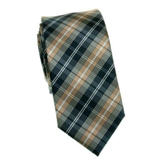 Slim navy blue, beige and brown checkered tie