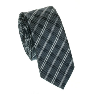 Slim dark blue checkered tie