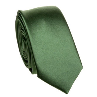 Slim dark green solid tie