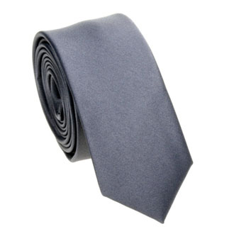 Slim dark gray solid tie
