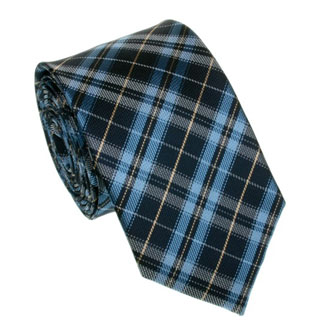 Slim dark blue and gray checkered tie