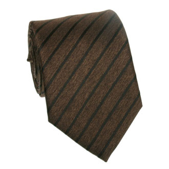 Brown  with black striped tie