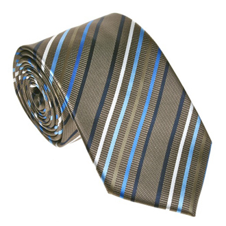 Brown with blue white and beige striped tie