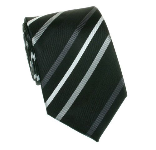 Black with gray striped tie