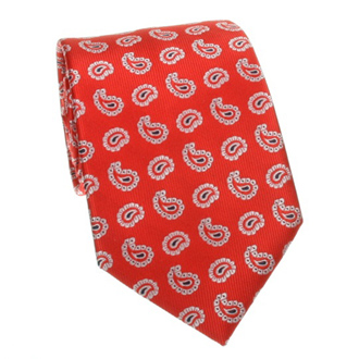 Red tie with cashmere pattern