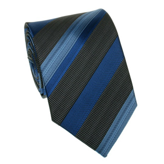 Dark blue and black striped tie