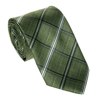 Green with dark blue and white checkered tie