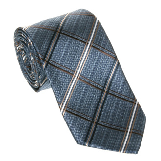 Blue with beige and dark blue checkered tie