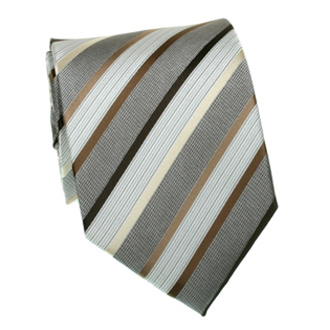 Beige, brown and gray striped tie