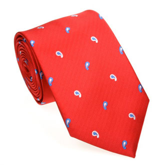 Red cashmere tie with blue and green pattern