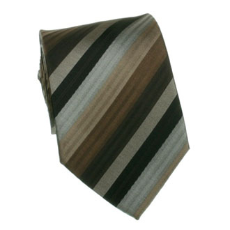 Brown with black and gray striped tie
