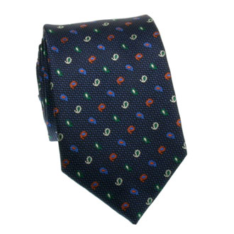 Navy blue tie with green red and blue pattern