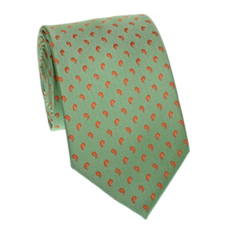 Green cashmere tie with orange dots