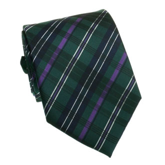 Dark green with purple and blue checkered tie