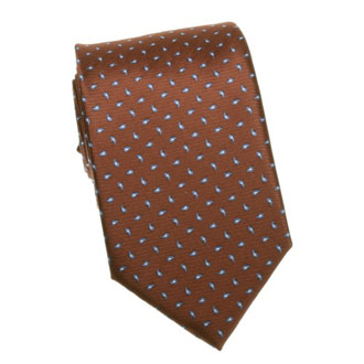 Brown cashmere tie with blue pattern