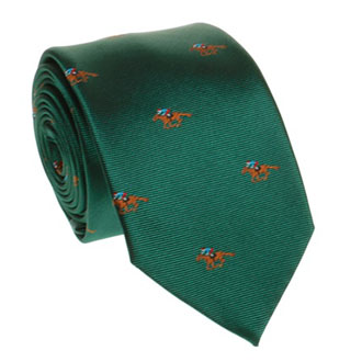 Dark green tie with horses pattern