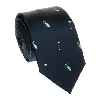 Navy blue tie with golf pattern