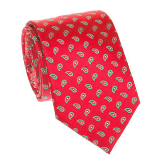 Red natural silk tie cashmere with green pattern