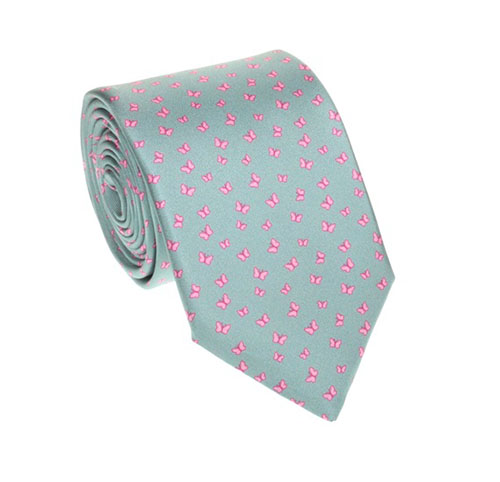 Pearl gray tie with butterflies pattern