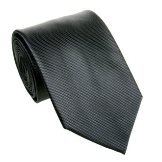 Black solid textured tie