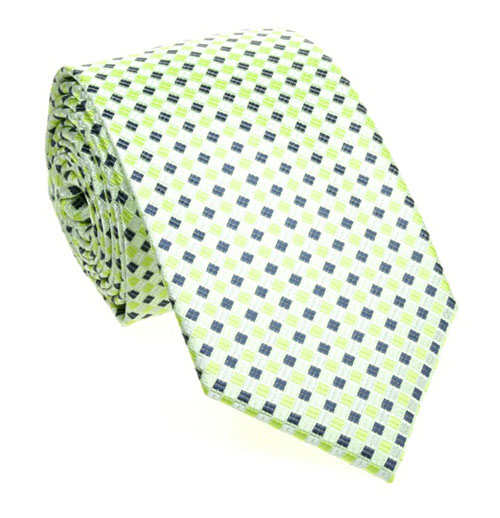 Green tie with navy blue pattern