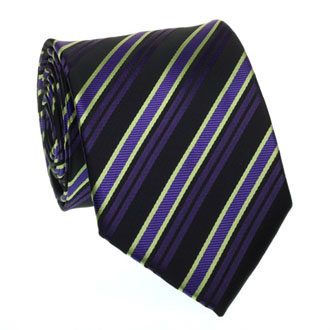 Purple, lime green and black striped tie