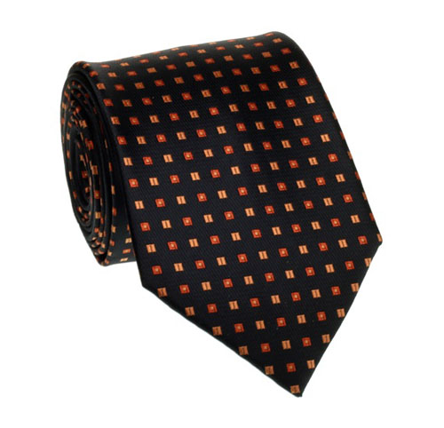 Black tie with orange pattern