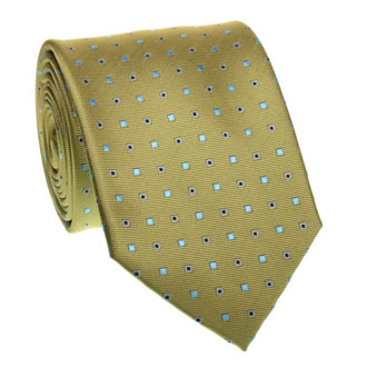 Ocher tie with turquoise and dark blue pattern