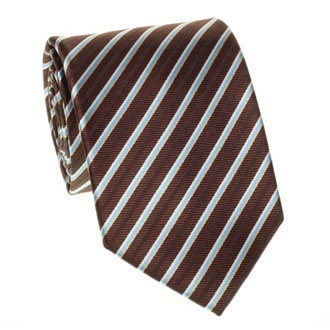 Brown with turquioise striped tie