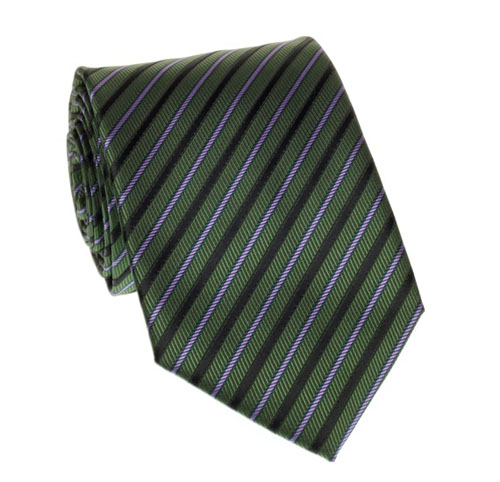Green, purple and black striped tie
