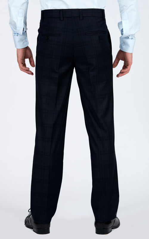 Navy Prince Of Wales Pants - Back pants