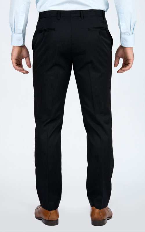 Premium Pinstripe Dark Grey Pants - Back pants