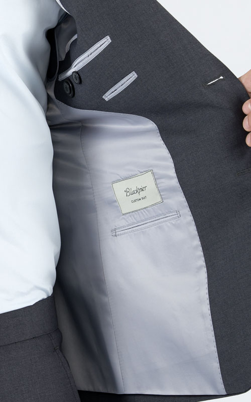 Basic Grey Custom Suit - Inside jacket lining