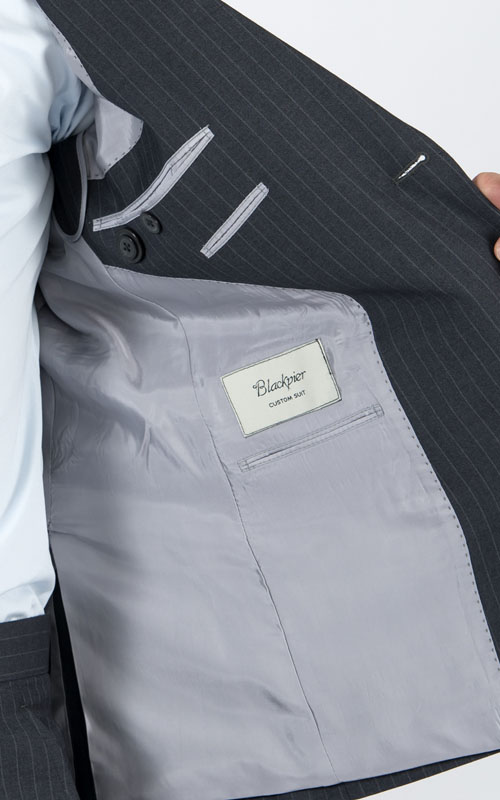 Striped Grey 2 Piece Custom Suit - Inside jacket lining
