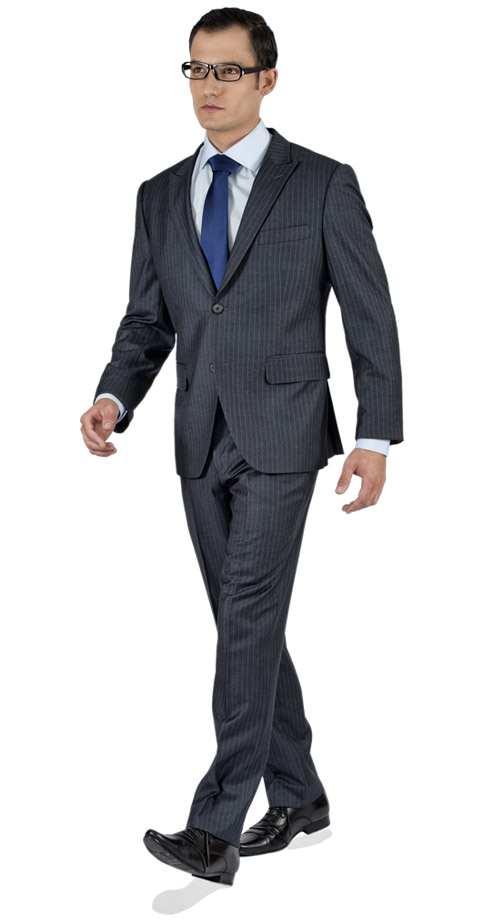 Striped Grey 2 Piece Custom Suit
