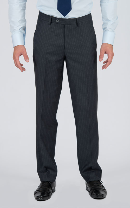 Striped Grey 2 Piece Custom Suit - Front pants